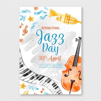 Modèle d'affiche de la journée internationale du jazz aquarelle