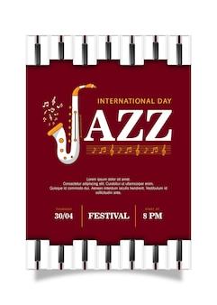 Modèle d'affiche de la journée internationale du jazz au design plat