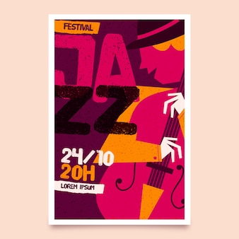 Modèle d'affiche de la journée internationale du jazz dessiné à la main