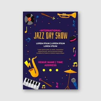 Modèle d'affiche de la journée internationale du jazz dessiné à la main