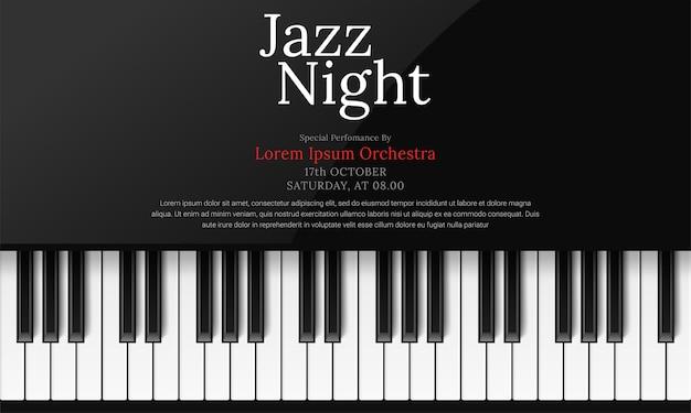 Modèle d'affiche de la journée internationale du jazz avec piano