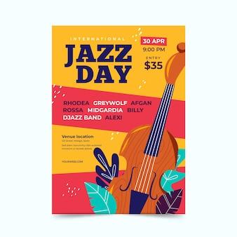 Modèle d'affiche de la journée internationale du jazz plat organique