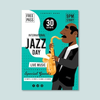 Modèle d'affiche de la journée internationale du jazz plat organique