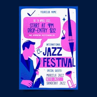 Modèle d'affiche de la journée internationale du jazz plat