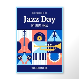 Modèle d'affiche de la journée internationale du jazz plat