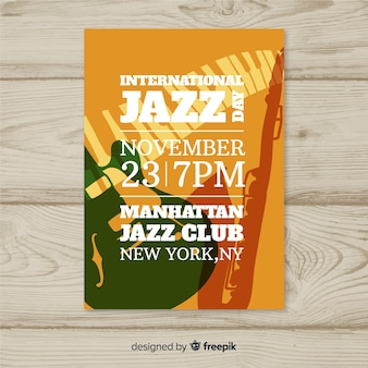 Modèle d'affiche de la journée internationale du jazz