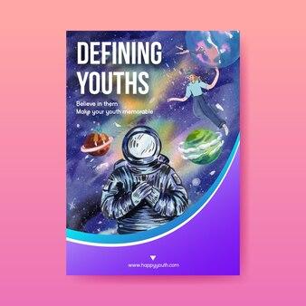 Modèle d'affiche avec la journée internationale de la jeunesse dans un style aquarelle