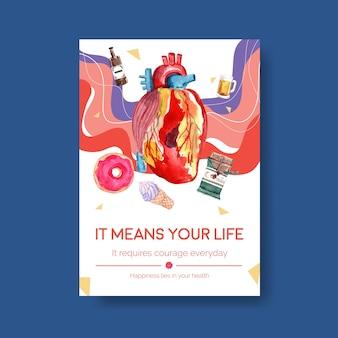 Modèle d'affiche avec la journée mondiale du diabète pour les publicités et l'aquarelle marketing