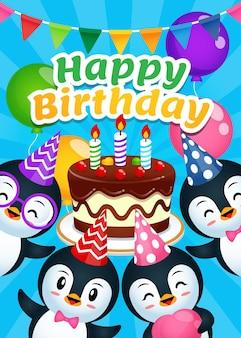 Modèle d'affiche de joyeux anniversaire pingouin mignon
