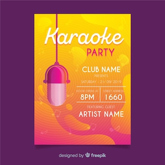 Modèle d'affiche karaoké dégradé abstrait