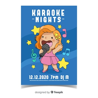 Modèle d'affiche karaoké dessiné à la main