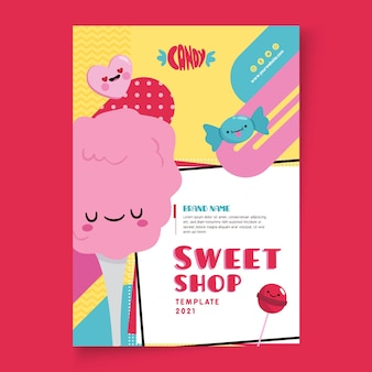 Modèle d'affiche de magasin de bonbons