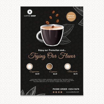 Modèle d'affiche de magasin de café