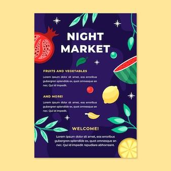 Modèle d'affiche de marché de nuit
