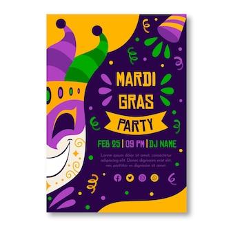 Modèle d'affiche mardi gras dessiné à la main