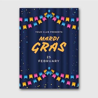Modèle d'affiche mardi gras réaliste coloré