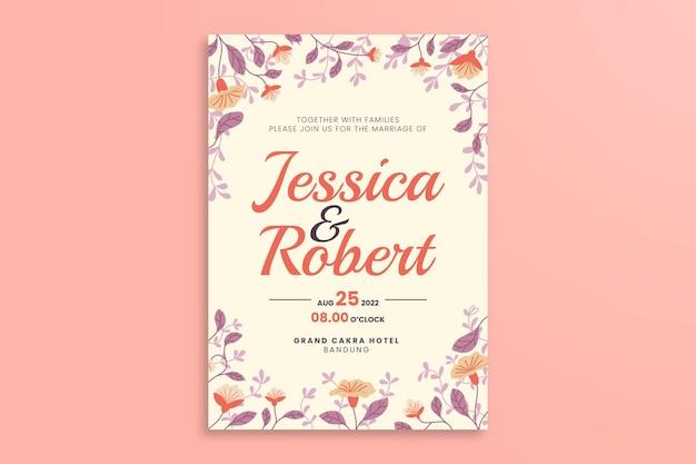Modèle d'affiche de mariage floral