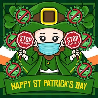 Modèle d'affiche de médias sociaux happy st patrick's day avec personnage de dessin animé d'illustration de lutin tenant le signe d'arrêt de la pandémie de covid-19