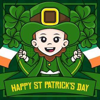 Modèle d'affiche de médias sociaux happy st patrick's day avec personnage de dessin animé d'illustration de lutin
