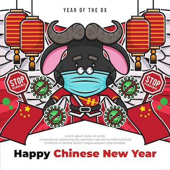 Modèle d'affiche de médias sociaux joyeux nouvel an chinois avec signe de pandémie d'arrêt et personnage de dessin animé mignon