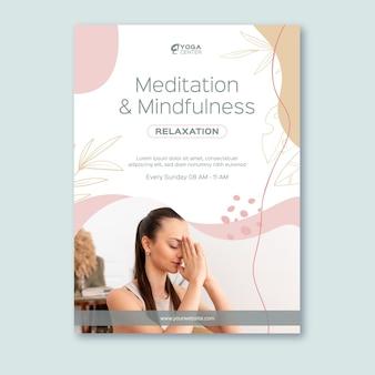 Modèle d'affiche de méditation et de pleine conscience