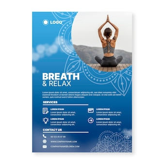 Modèle d'affiche de méditation yoga