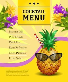 Modèle d'affiche de menu cocktail. ananas dans des lunettes de soleil avec de la paille
