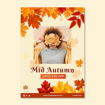 Modèle d'affiche mi-automne