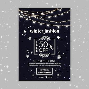 Modèle d'affiche de mode hiver