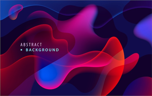 Modèle d'affiche moderne de flux de fluide coloré. vague de formes transparentes à gradient liquide sur fond sombre.