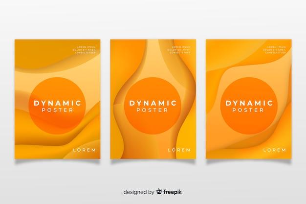 Modèle d'affiche moderne avec des formes dynamiques