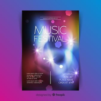 Modèle d'affiche musicale abstrait effet de lumière