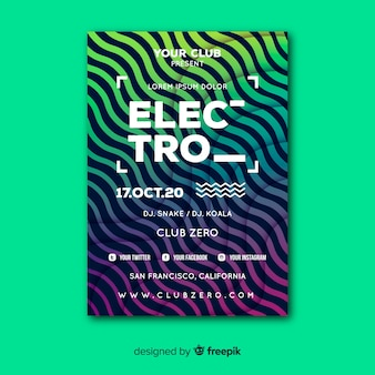 Modèle d'affiche de musique abstraite électro