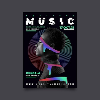 Modèle d'affiche de musique abstraite avec image
