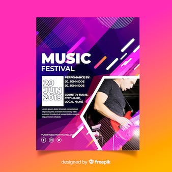 Modèle d'affiche de musique colorée abstraite avec photo