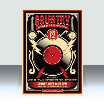 Modèle d'affiche de musique country