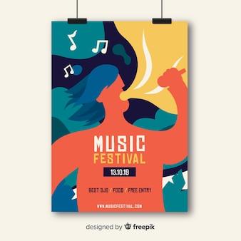 Modèle d'affiche de musique dessiné à la main