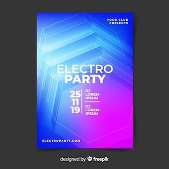 Modèle d'affiche de musique électronique abstrait effet 3d