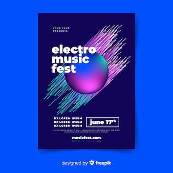 Modèle d'affiche de musique électronique abstraite