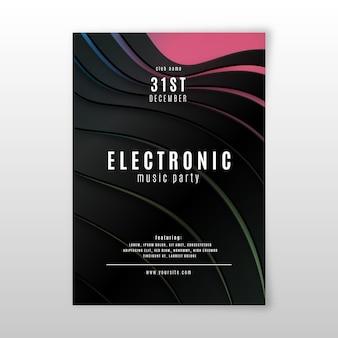 Modèle d'affiche de musique électronique effet 3d abstrait