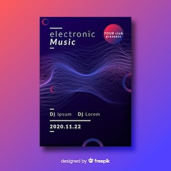 Modèle d'affiche de musique électronique vague abstraite