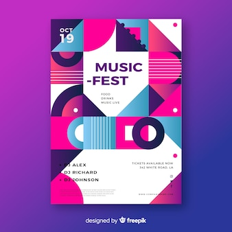 Modèle d'affiche musique fest musique géométrique