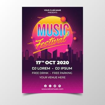 Modèle d'affiche de musique futuriste rétro