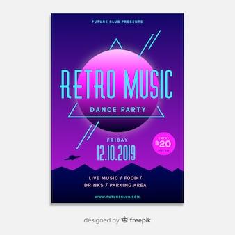 Modèle d'affiche de musique futurstic rétro