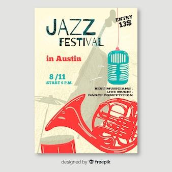 Modèle d'affiche de musique jazz abstraite
