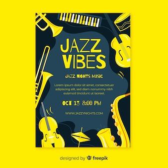 Modèle d'affiche de musique jazz dessiné main abstraite