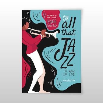 Modèle d'affiche de musique jazz dessiné à la main abstraite