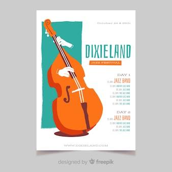 Modèle d'affiche de musique de jazz dixieland