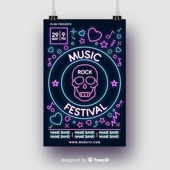 Modèle d'affiche de musique néons