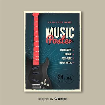 Modèle d'affiche de musique rétro